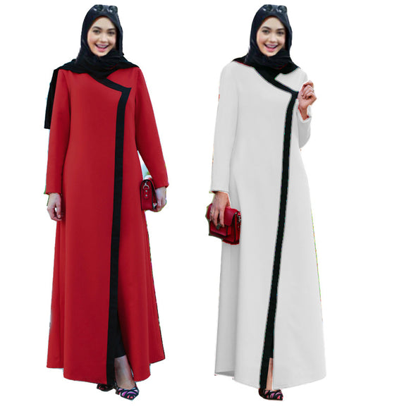 Women Long Sleeve Turkish Gown Moroccan Kaftan Islamic Abaya