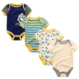 4 Pc's Unisex O-neck New Baby Bodysuits Boy Girl Summer Clothes - TriggerKart