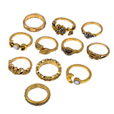 Women Bohemian Vintage Silver Stack Rings Above Knuckle Blue Rings Set 11Pcs/Set