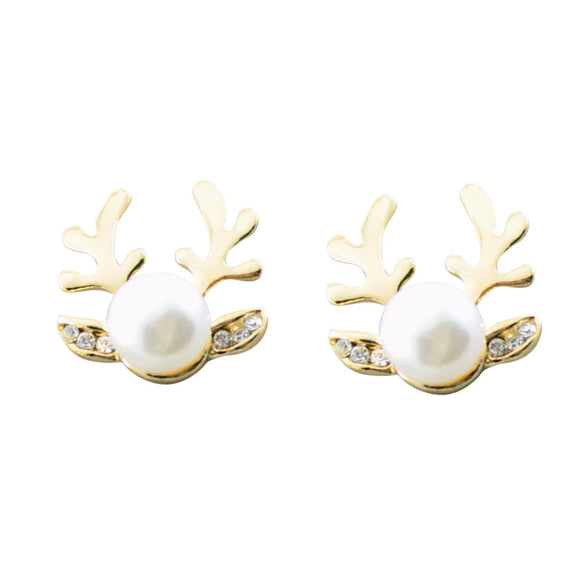 Women Luxurious Antlers Shape Alloy Ear Stud Pearl Earrings Jewelry GD