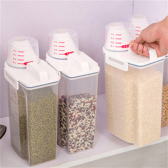4L Grain Storage Container  Kitchen Organizer For Rice  Cereal Etc  Sealed Box With Measuring Cup - TriggerKart