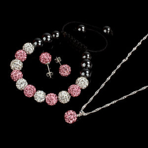 10MM Crystal Ball Jewelry Shamballa Bracelet Earrings Necklace Set PK - TriggerKart