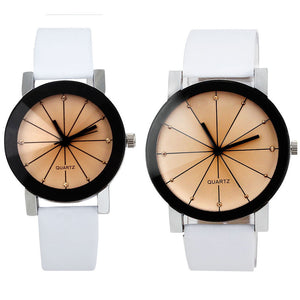 Men and Women Quartz Dial Clock Leather Wrist Watch Round Case