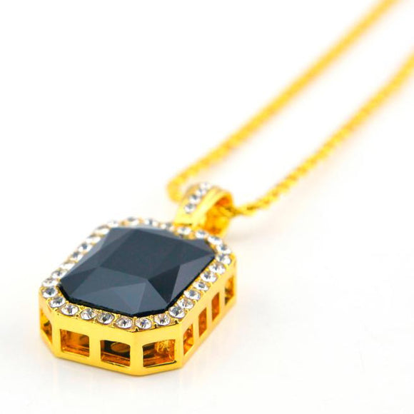 Plated Iced Out Black Octagon Ruby Pendant Necklace BK