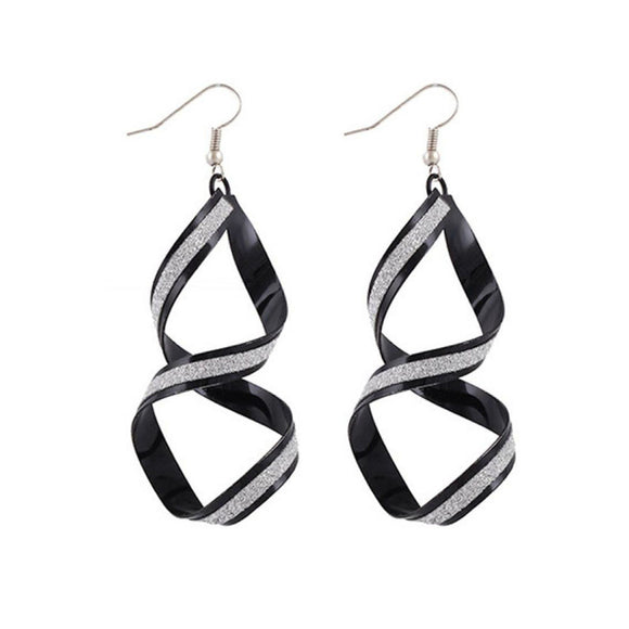 Women Alloy Matte Dangle Earings Eardrop Jewelry Black