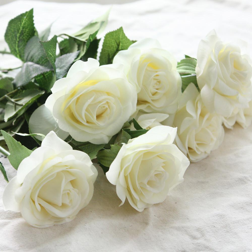 10pcs Rose Artificial Flowers Silk Flowers Floral Latex Real Touch