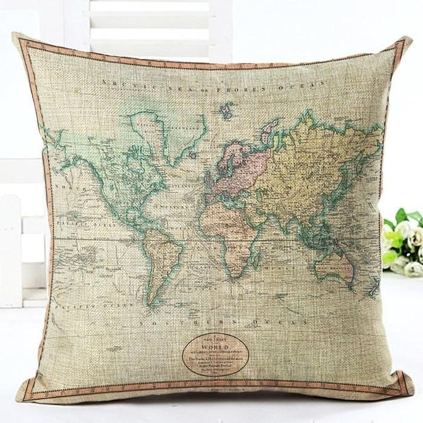 Vintage world map style pattern cushion cover cotton linen pillow vintage world map style pattern cushion cover cotton linen pillow cover cushion cover pillow case home gumiabroncs Images