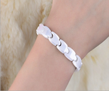 Magnetic Therapy Bracelet, White Ceramic with Germanium