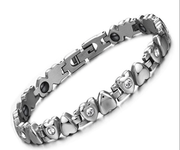Magnetic Therapy Bracelet, Titanium Stainless Steel Lady's Love Bracelet