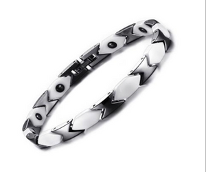 Magnetic Therapy Bracelet, Silver-White Ceramic Energy with Hermatite