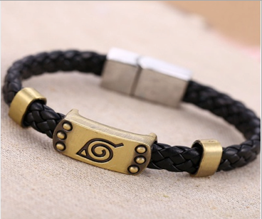 Magnetic Leather Bracelet, Naruto Black Braided Leather