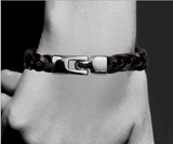 Magnetic Leather Bracelet, Braided Leather with Stainless Steel Magnetic Clasp