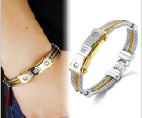 Magnetic Therapy Bracelet,  Gold Plated Titanium Germanium Bracelet