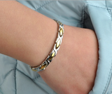 Magnetic Therapy Bracelet, Titanium Steel with Germanium Link Chain Bracelet (Silver & Gold)