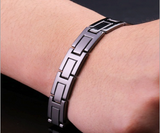 Magnetic Therapy Bracelet, Black Titanium Steel with Germanium, Watch Band Style Link Chain