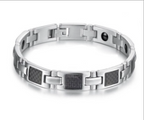 Magnetic Therapy Bracelet, 316L Silver Magnetic Titanium Stainless Steel