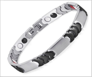 Magnetic Therapy Bracelet, Silver-Black Stainless Steel
