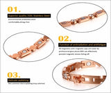 Magnetic Therapy Bracelet, Ladies Bio Energy Bracelet with 3 Smart Buckles