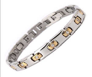 Magnetic Therapy Bracelet, 316L Stainless Steel 3-Clasp Crystal for Ladies