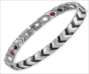 Magnetic Therapy Bracelet, Titanium Energy Black-Silver Bracelet with 4 Elements