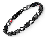 Magnetic Therapy Bracelet, Heart Design Stainless Steel with 4 Elements
