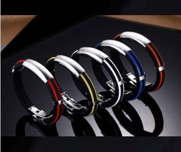 Magnetic Silcone Bracelet, Adjustable Silicone Wristband with Stainless Steel Clasp
