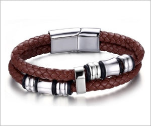 "Magnetic Leather Bracelet, Maroon-Brown Vintage Double Braided Rope with Stainless Steel Bangle 8"" Genuine Leather"