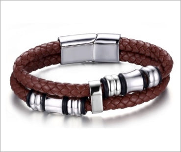 Magnetic Leather Bracelet, Maroon-Brown Vintage Double Braided Rope with Stainless Steel Bangle 8
