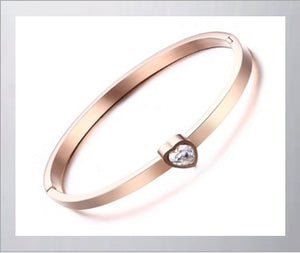 Style Bracelet, Stainless Steel Rose Gold Cuff Bangle for Women, with Cubic Zirconia Heart