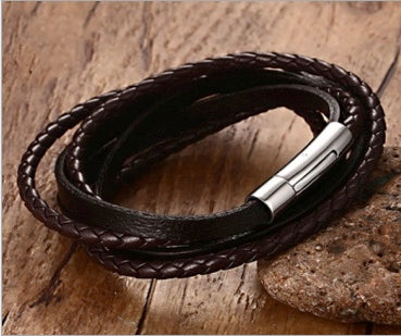 Magnetic Leather Bracelet, Woven Wrap Surfer Cuff, Genuine Leather