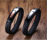 Magnetic Leather Bracelet, Braided Genuine Leather IP Black Plating Unisex