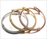 Style Bracelet, Stainless Steel Triple-Color Twisted Cuff Bangle Set for Women, Adjustable