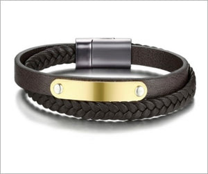 Magnetic Leather Bracelet, Duo-Layer Genuine Leather Gold-Plated Stainless Steel ID Tag for Men, Pulseira Masculina