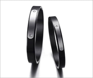 Style Bracelet, Couple Cuff Bracelets, Lovers ID Tag in Elegant Black-Plated Stainless Steel