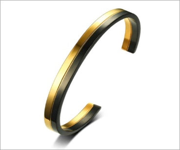 Style Bracelet, Stylish Open Cuff Bracelet for Women, Black & Gold, Femme Masculina