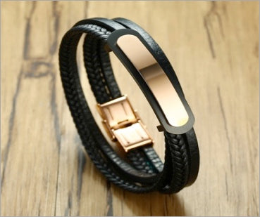 Magnetic Leather Bracelet, Multi-Layer Genuine Leather Rose Gold-Plated Stainless Steel ID Tag, Unisex