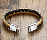 Magnetic Leather Bracelet, Intertwined Gold & Black Genuine Leather Cuff Wrap Bracelet