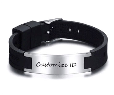 Magnetic Silcone Bracelet, Adjustable Black Silicone Stainless Steel ID Tag