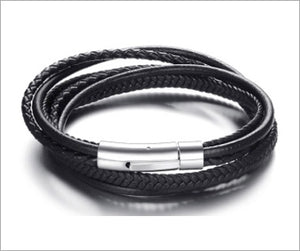 Magnetic Leather Bracelet, Black Genuine Leather Cuff Wrap Bracelet for Men, Pulseira Masculina