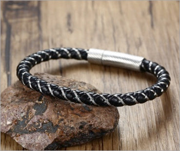 Magnetic Leather Bracelet, Stainless Steel Braided Leather Bracelet for Men, Classical Masculino