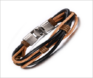 Leather Bracelet,  Coffee-Black Weave Rope Chain Genuine Leather