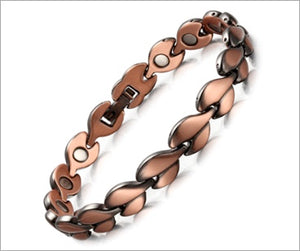 Magnetic Therapy Bracelet, Bronzed Copper Leaf 8mm  with Magnet for Arthritis Pain Relief