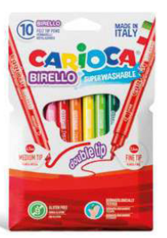 Carioca Birello Two tip felt markers Fine and Thick 10pc set
