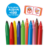 Carioca 100 pen Color set Tin Box with drawing book