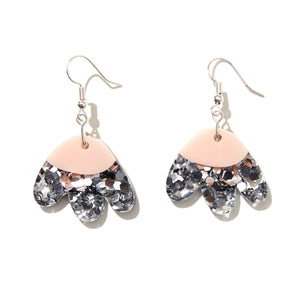 ELLE EARRINGS | SILVER GLITTER + PINK | EMELDO