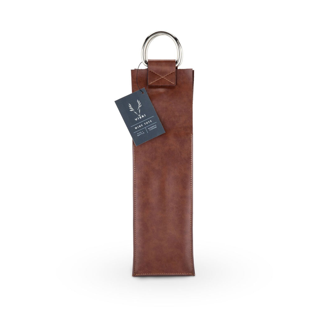 SINGLE WINE TOTE | FAUX LEATHER