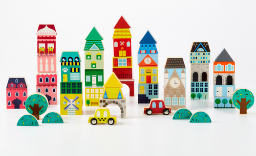 AROUND THE WORLD 50 PIECE WOOD BLOCK SET