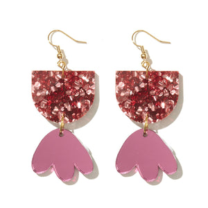 BAMBI EARRINGS | ROSE CHUNKY GLITTER + PINK MIRROR