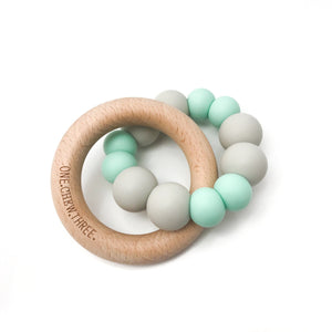 ONE.CHEW.THREE. SILICONE & BEECH WOOD TEETHER
