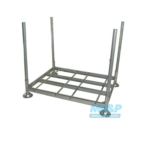 Galvanised steel post stillage with demountable legs for hire